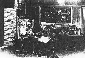 Waterhouse works on 'Song Of Springtime' in his studio