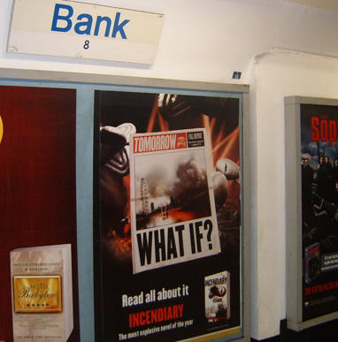 Incendiary poster at Bank