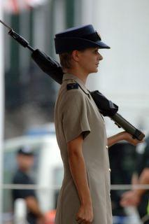 The first ever woman stands guard outside The Convent, Gibraltar's Governor's Residence provided by RAF Gibraltr - Photo © DM Parody Gibraltar Pics Photo Blog http://gibphotographer.blogspot.com