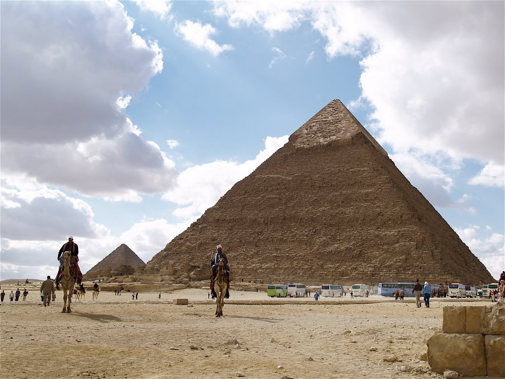 how the three pyramids at giza were built Three smaller pyramids, often referred to as queens' pyramids, are located adjacent to khufu's pyramid it's difficult to say for sure for whom they were built, but one of them may have been .