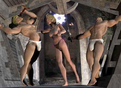 sexy sword fight two studs in jock strap cannot defeat a sexy lady in