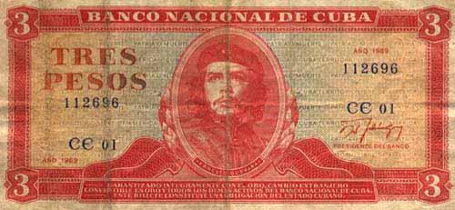 Pesos cubanos con la imagen de El Che
