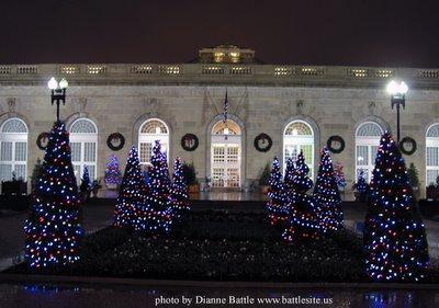 Christmas trees outside the USBG