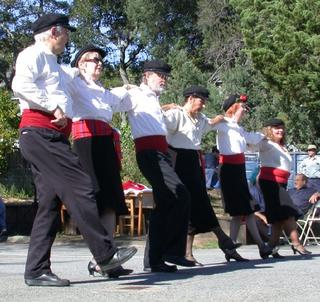 Dancers (not me) performing a Greek line dance.