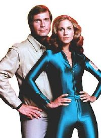 Erin Gray, space babe, and some guy.