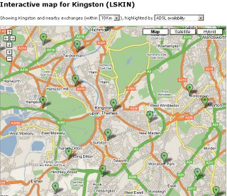 ADSL Map Kingston upon Thames