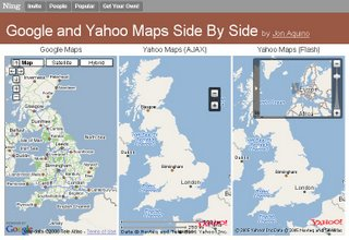 google map yahoo map side by side