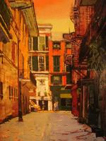 Pirate's Alley, New Orleans -- Oil on Canvas Board