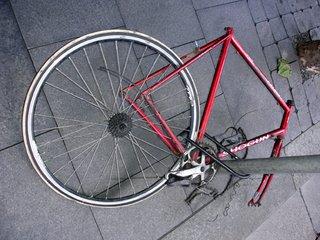 red broken bike