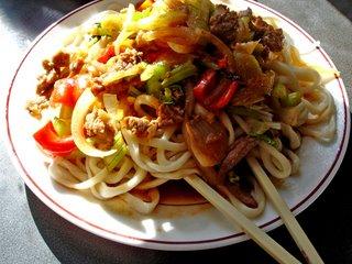 lamb noodles dish