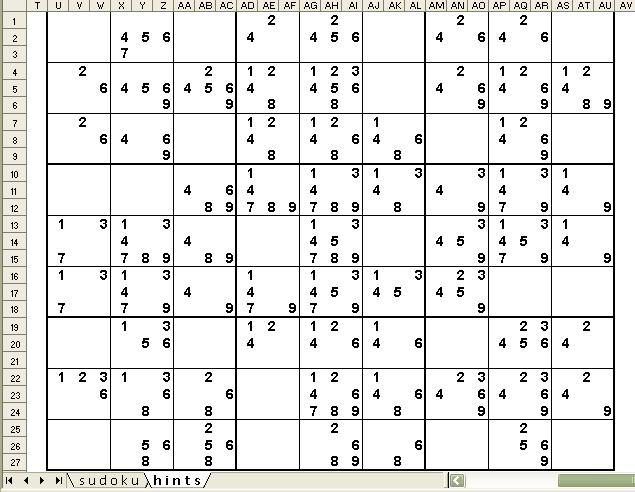under the sun sudoku excel helper with hints
