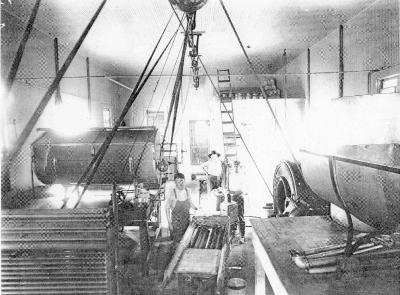 The interior of Wolters' Rock Bluff Brewery around 1884.