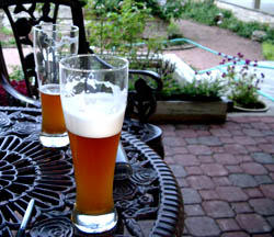 Our homebrew, hefeweiss on the left, classic American ale on the right