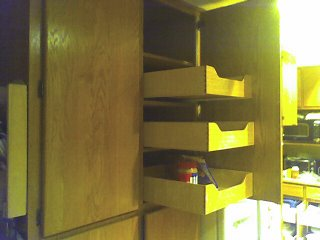 New pantry pull-outs.  No I'm not done; 9 more to go in this section.