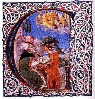St. Agostinho (354-430 EC) tem a sua visão da Cidade de Deus descendo do Céu.
