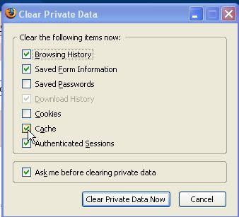 FireFox: clear cache