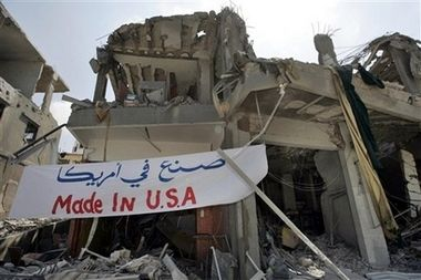 Ruins in Abassiyeh Banner Reads 'Made in USA'
