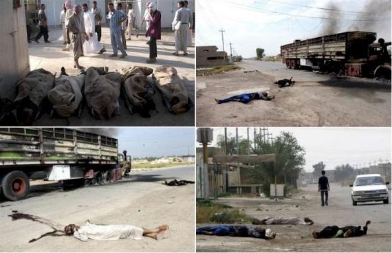 Composite image of 4 photographs shia family killed fleeing baquba