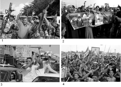 Composite 4 panel image of demonstrations for and against Saddam's death