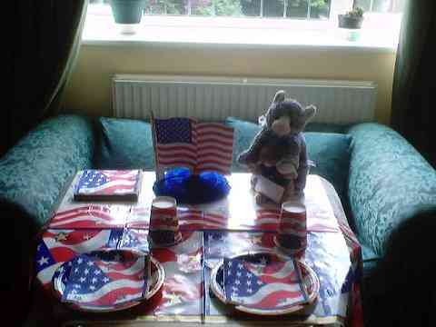 Table set for 4th of July dinner.