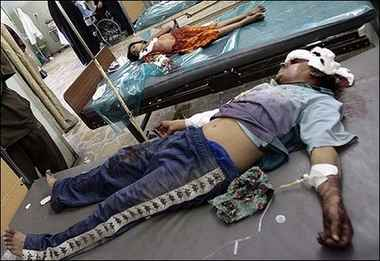 Two patients Yarmouk hospital Baghdad injured in the violence following the Al Zahra mosque bombing