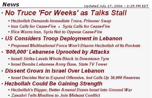 Screen shot of headlines