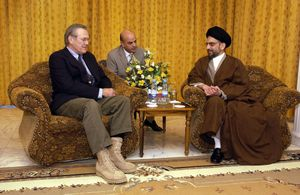 Al-Hakim and Rumsfeld file photo.