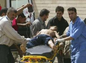 Injured child being taken to hospital after bombing