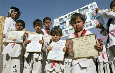 Young Taekwondo athletes demonstrating against the kidnapping of the national team.