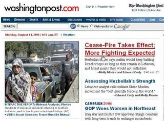 Screen Shot of Washington Post August 14th 2006