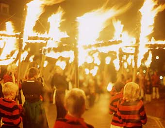 Lewes Bonfire procession, Lewes, East Sussex, UK