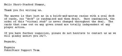 PokerStars responds to Shamus's query