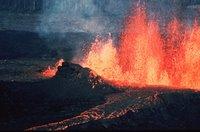 Erupting volcano.