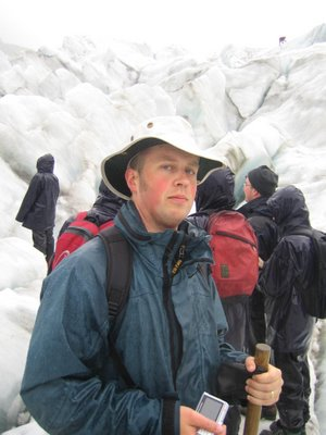 Tim looking intrepid on the Fox glacier