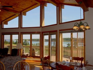 Floor to ceiling windows provide spectacular seaside view