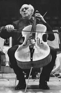 Mstislav Rostropovich, playing the cello