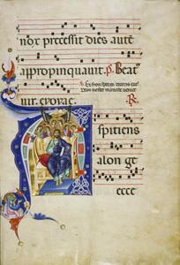 Aspiciens a longe, antiphoner illuminated by the Master of Gerona, late 13th century