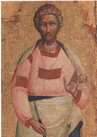 Lorenzo Veneziano, Saint Bartholomew, from the altarpiece of San Giacomo Maggiore in Bologna, painted in 1368, Pinacoteca Nazionale Bologna