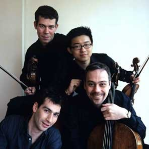 Quatuor Diotima -- clockwise from top, Franck Chevalier (viola), Yun-Peng Zhao (violin), Pierre Morlet (cello), Naaman Sluchin (violin), photo by Guy Vivien