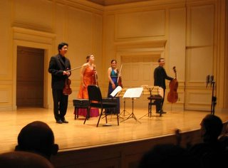 Jupiter Quartet with their new toys, Library of Congress, December 16, 2005