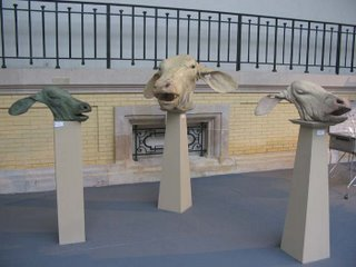 Quentin Garel, calves' heads, 2006, Galleria Forni