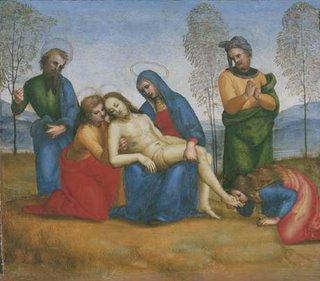 Raphael, Colonna altarpiece, predella panel, Pietà, Isabella Stewart Gardiner Museum