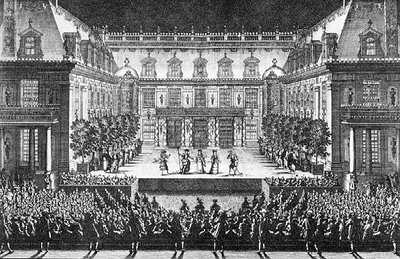 Performance in the Cour de Marbre at Versailles of Lully's Alceste, engraving by Lepautre, 1679