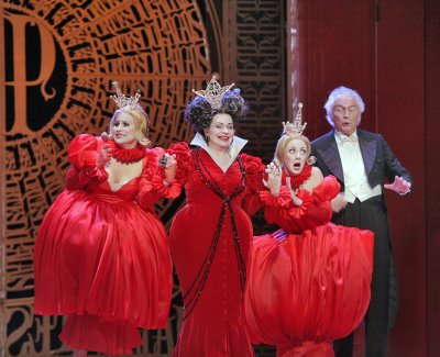 Gabriela Garcia as Dorothe, Judith Forst as Madame de la Haltire, Anne-Carolyn Bird as Nomie, and Richard Stilwell as Pandolfe, Cendrillon, Santa Fe Opera, directed by Laurent Pelly, sets by Barbara de Limburg, costumes by Laurent Pelly and Jean-Jacques Delmotte, photo by Ken Howard &#169; 2006