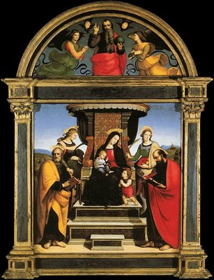 Raphael, Colonna altarpiece, 1504-05, main panel and lunette, Metropolitan Museum of Art