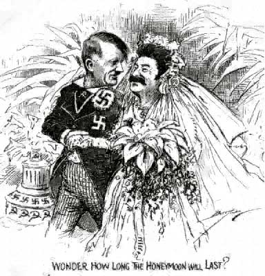 Hitler and Stalin get married, anonymous cartoon, 1939