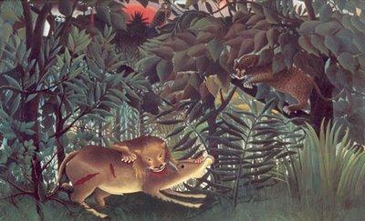 Henri Rousseau, Le lion ayant faim se jette sur un antélope, 1905, Fondation Beyeler