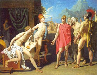 Ingres, Les Ambassadeurs d'Agamemnon et des principaux de l'armée grecque, précédés des hérauts, arrivent dans la tente d'Achille pour le prier de combattre, winner of Prix de Rome, 1801