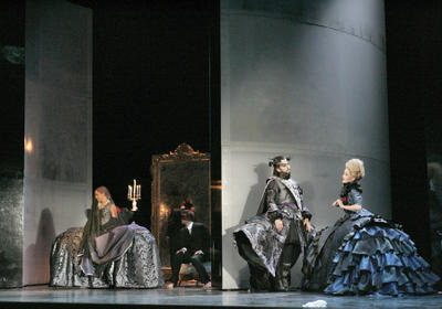 Celena Shafer, Gregory Kunde, and Anna Christy, Lucio Silla, Santa Fe Opera, July 2005