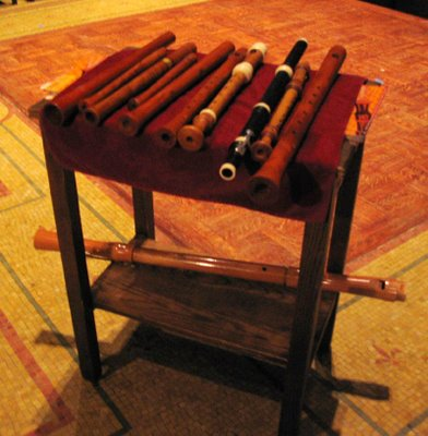 Matthias Maute's table full of recorders